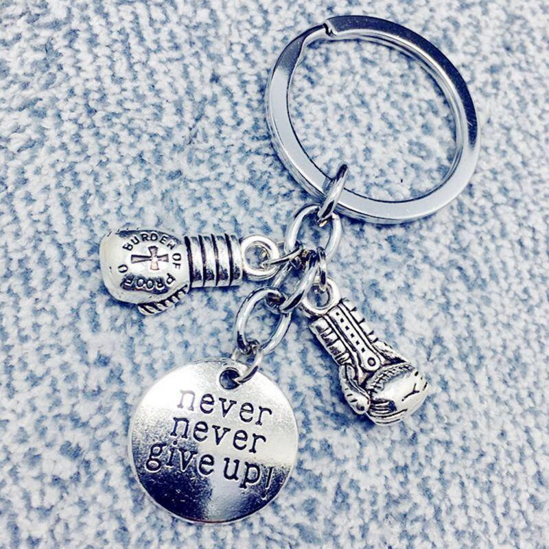Never Give Up Key Chain Vintage Silver Boxing Keychain Gloves Pendant For Fitness Keys Car Purse Bag Key Ring Handbag Jewelry Gift Craft