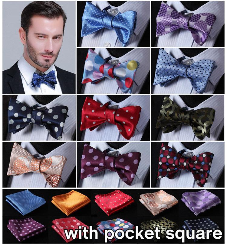 Dot 100%Silk Jacquard Woven Men Butterfly Self Bow Tie BowTie Pocket Square Handkerchief Hanky Suit Set EDA