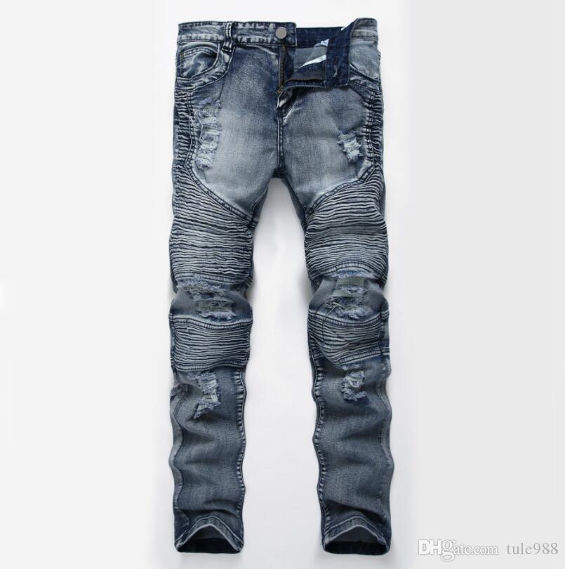 Nuovo 2019 uomini afflitto jeans strappati modo diritto Motociclista jeans causale denim pantaloni Streetwear Style Jeans Uomo freddo