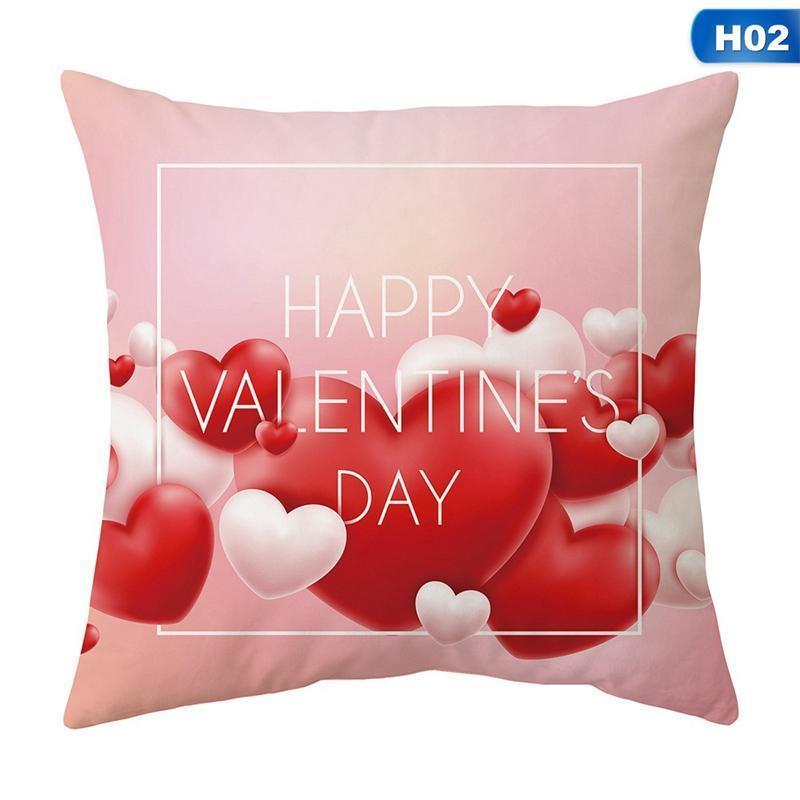 Red Valentine Day Coussin décoration Couverture Polyester Coeur Je t'aime Imprimer Taie d'oreiller Taie d'oreiller pour un couple cadeau Home Decor