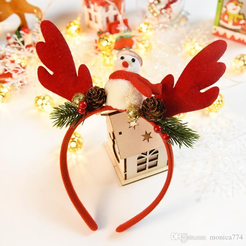 NEW 어린 소녀 귀여운 크리스마스 헤어 수제 어린이 엘크 머리 버클 머리띠 만화 어린이 크리스마스 파티 모자 눈사람 M3 스틱