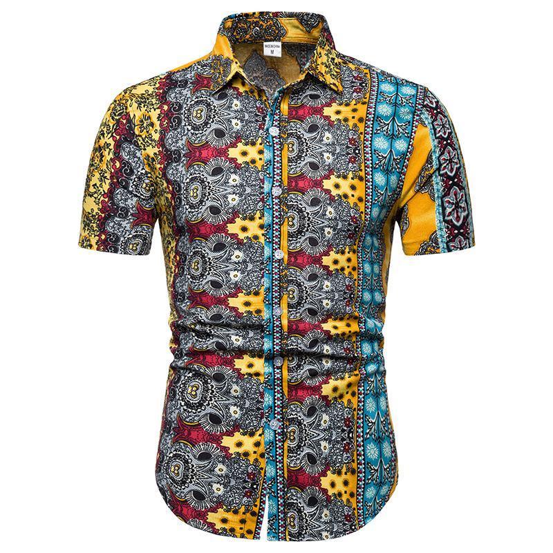 Camicie casual da uomo Grande taglia M-5XL Camicia floreale uomo manica corta Abbigliamento da uomo hawaiano sottile giallo blu arancione blu