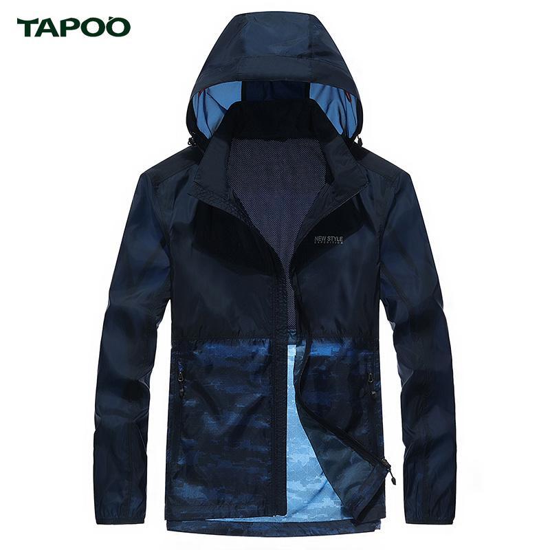 TAPOO Summer Men Jacket Сыпучие дышащая кожа Одежда с длинными рукавами с капюшоном Плюс Размер Солнцезащитный Одежда Светло-серый Royal Blue