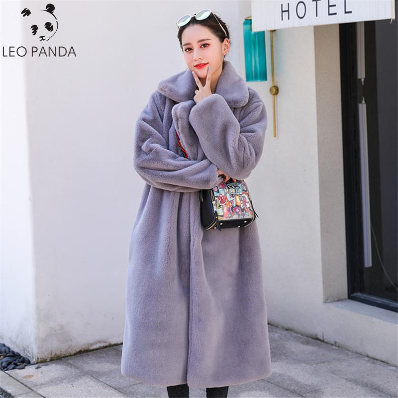 2019 Winter New Fashion Imitation Rabbit Fur Coat Long Fur Jacket Female Casual Loose Plus Size Thicken Warm Parka Coats Clothes T200506