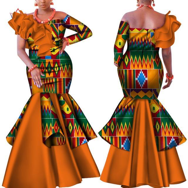 Danshiki Африка платье для женщин Базен Riche одно плечо Sexy Рассечение шеи Свадебное платье партии традиционной африканской одежды WY4224