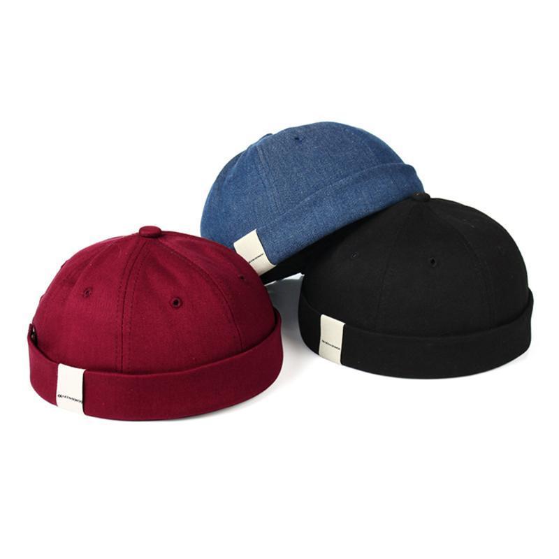 Fashion Men's French Brimless Hat Mens Retro Skull cap Male Hip Hop Caps Beanie Retro Sun Hats Vintage Unisex Harajuku