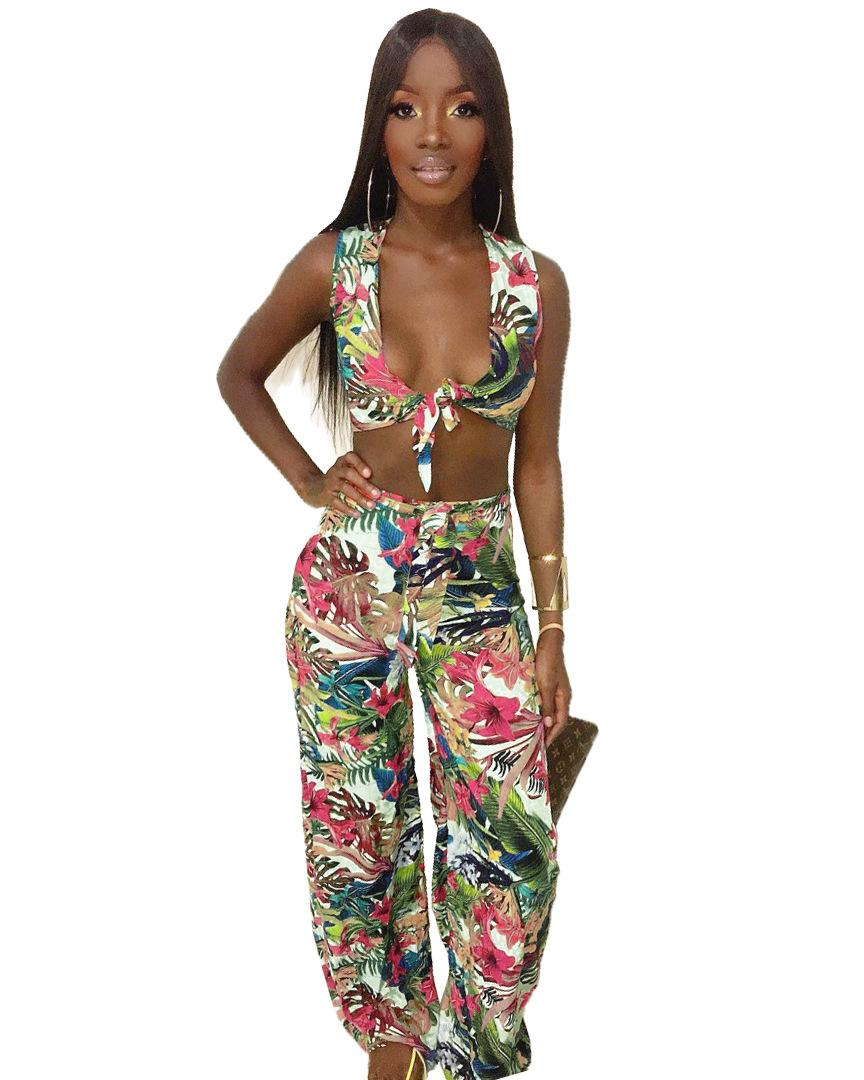 Fashion 2 Piece Sets Womens Outfits Sexy Sling Wrapped Chest Print Casual Suit Perfect for Party Streeetwear NB-1226