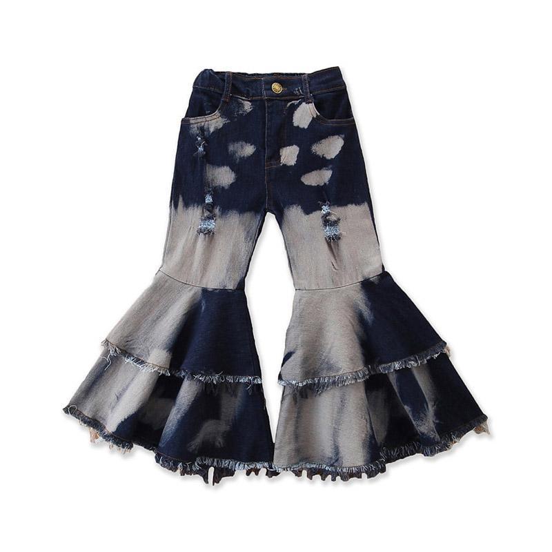 Baby Girls Flare Pantalon Double Ruffle Tassel Denim Pantalons Enfants Vêtements Casual Vêtements Filles Élastique Pantalon Pantalons de poche Boot Cut Jeunes 060526