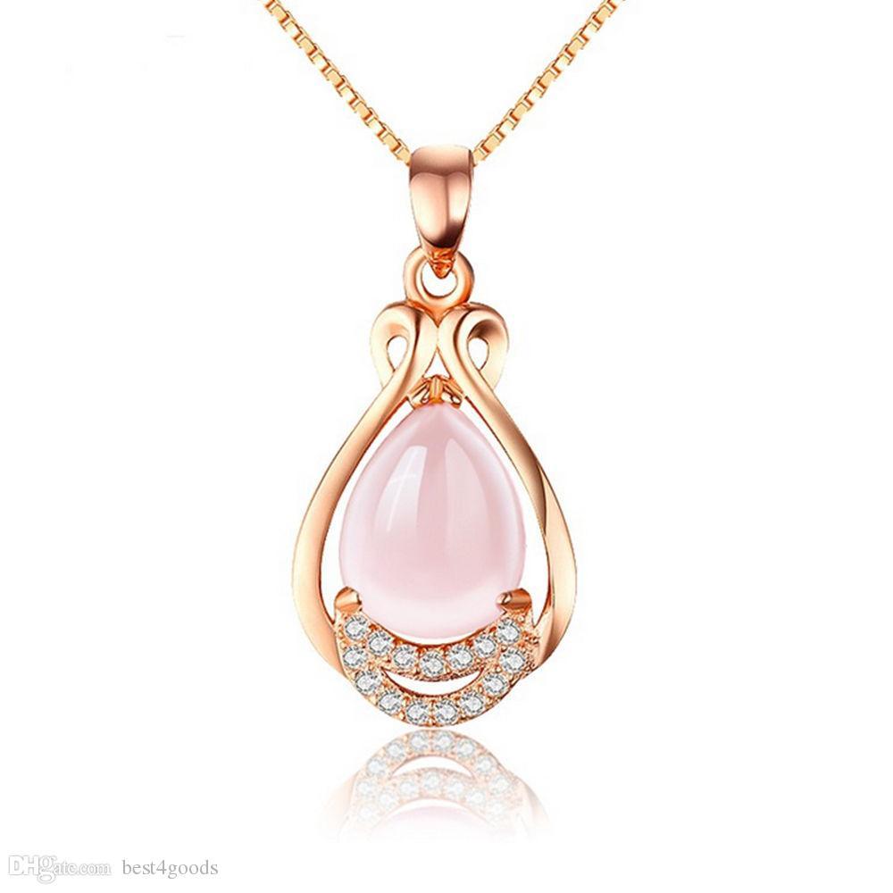 Rose Pendentif fleur collier pour femme en or rose avec pierre de cristal