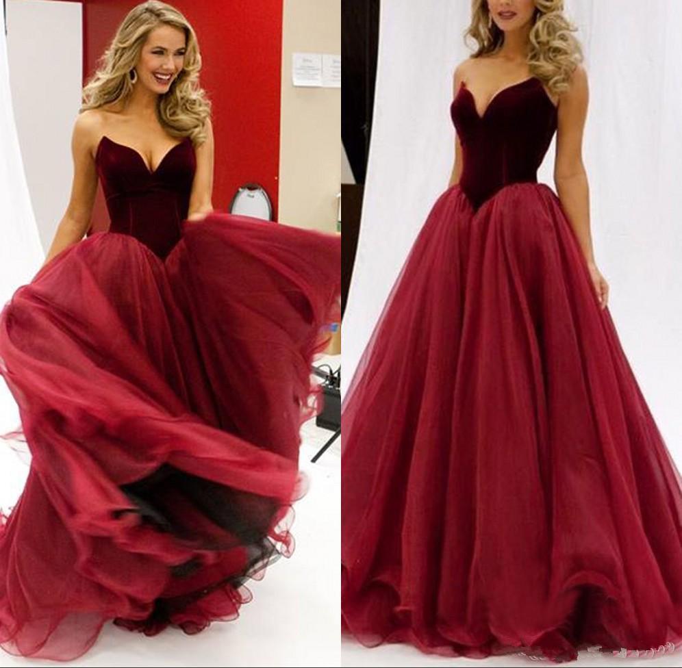 Red Fabuloso Espartilho Prom Escuro Vestidos Velvet decote Top Floor Length Tulle Evening Partido vestidos de alta qualidade barato Custom Made