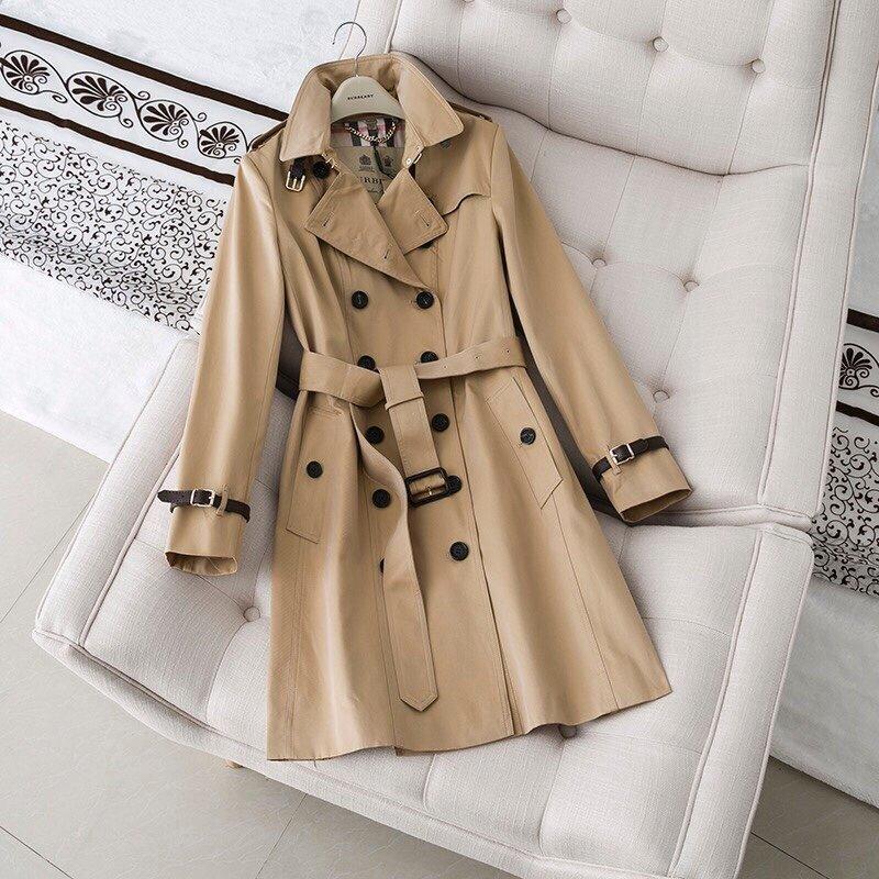 Trench des femmes long automne classique coupe-vent style imperméable britannique New haut de gamme anglais d'hiver Gabadian couleur unie Casual C261CC