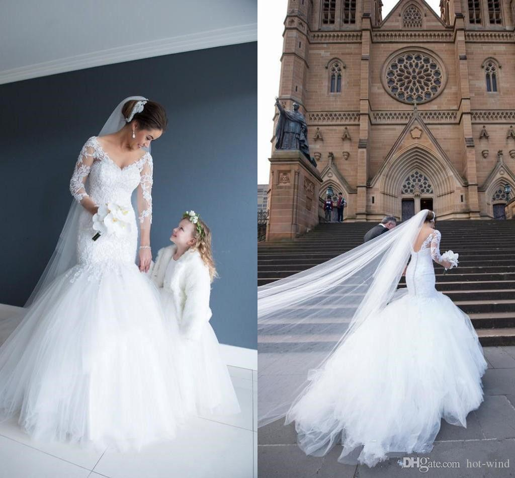 2019 Sexy V Neck Backless Mermaid Wedding Dress For Women Long Sleeve Turkey Vintage Lace Sequin Bridal Gowns vestidos de novia