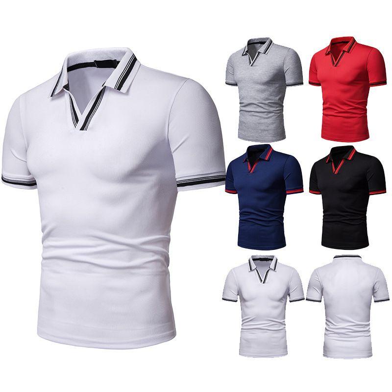 New Style Summer Men V-neck Loose-Fit Ouma Short Sleeve Lapel T-shirt D23