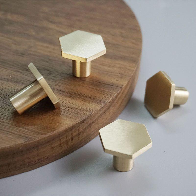 Hexágono latón macizo del gabinete de cocina Pomos Tiradores Tirador envío libre accesorio de hardware de los muebles del cajón del armario del cajón perilla