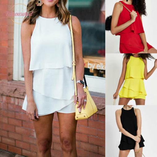New Fashion 2020 Womens Clubwear Holiday Summer Mini Chiffon Playsuit Romper Beach Shorts Dress Drop Shipping