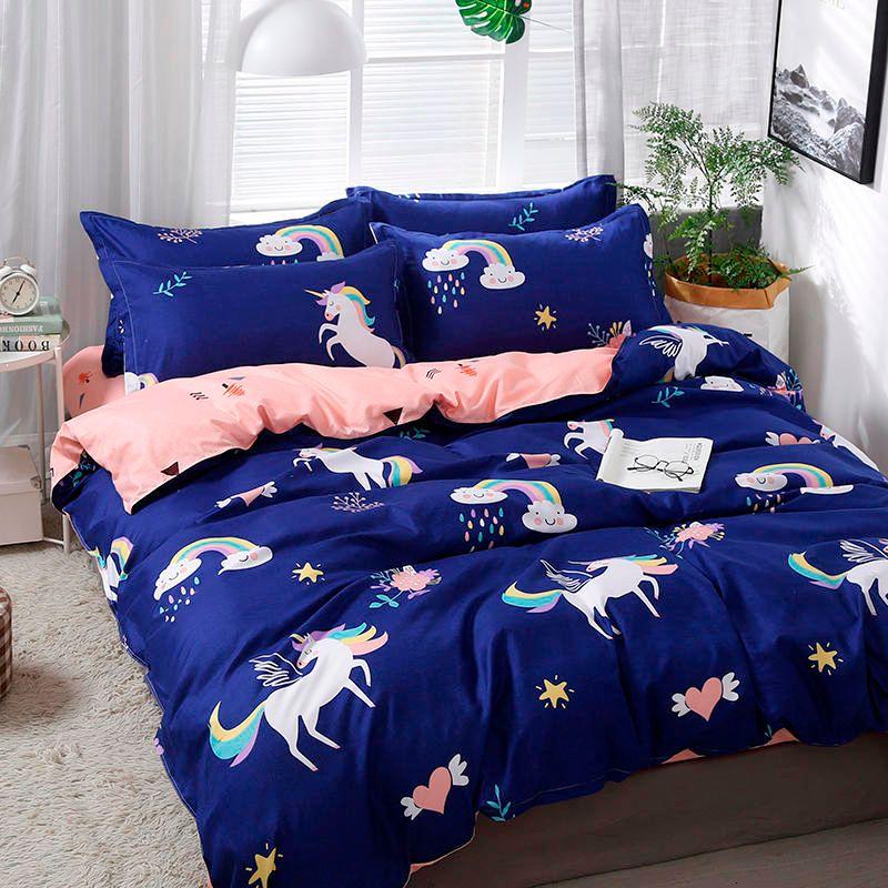 Solstice Home Textile Cartoon Polar bear Bedding Children's Beddingset Linen Duvet Cover Bed Sheet Pillowcase/bed Sets Y200417