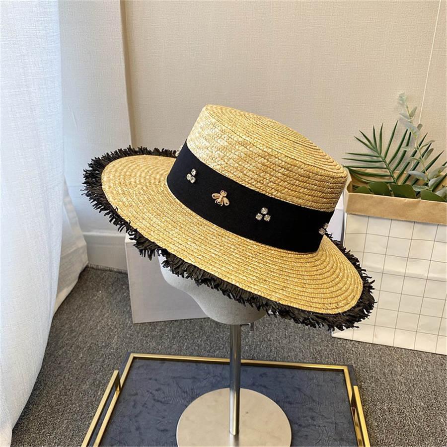 النحلة الصغير شاطئ كاب الصيف مصمم الأزياء شارع القبعات بيني لامرأة قبعات النسائية العلامة التجارية قبعة شاطئ بريم القبعة