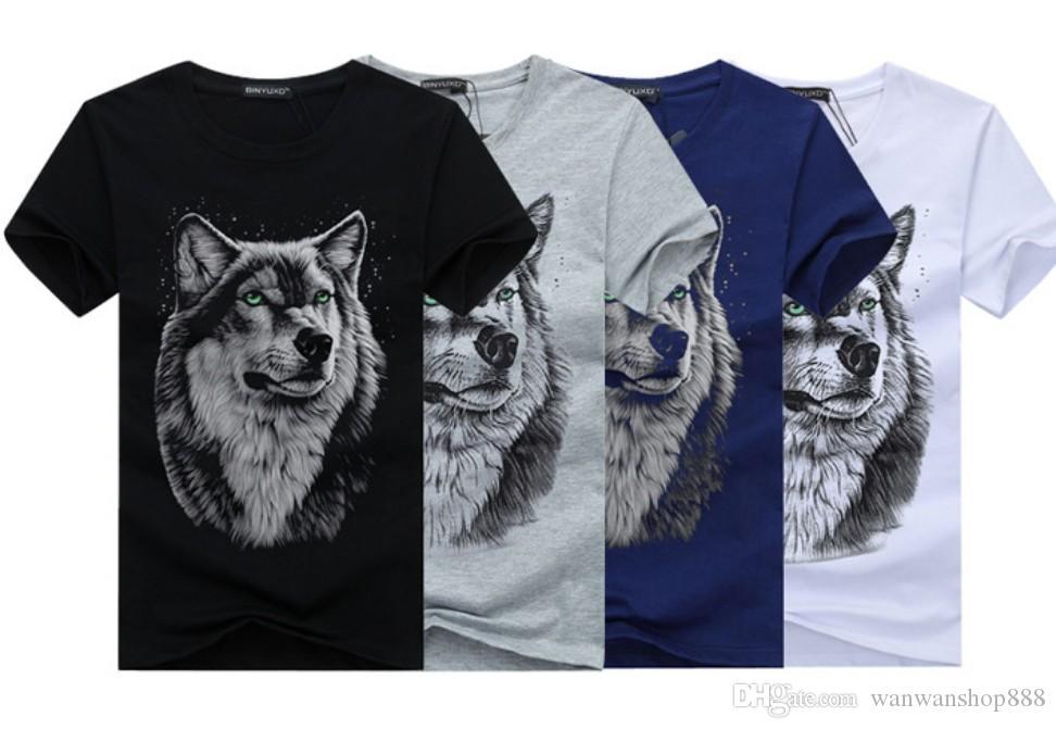 Mens Cotton T-Shirt Mens Wolf Head Cotton Short-Sleeved T-Shirt