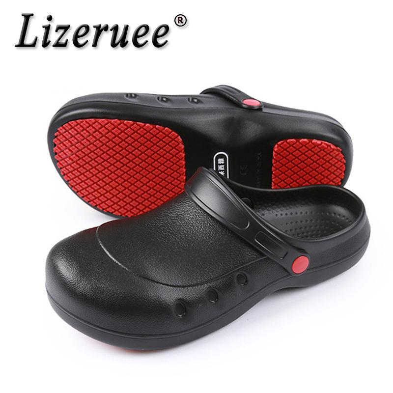 Lizeruee Hommes Femmes Chef de chaussures de sport Chaussures de travail Plat légère unisexe antidérapante résistant à l'usure Cuisine Cuire travail Pantoufles