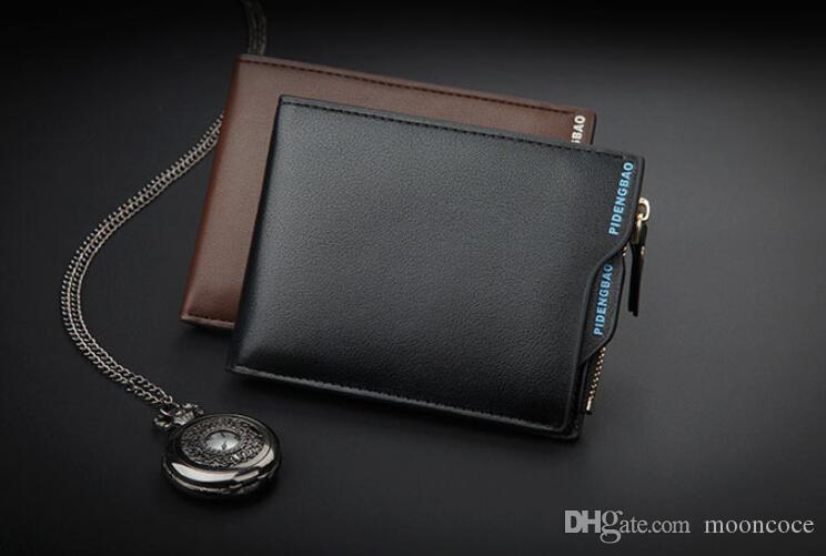 2019 marke Mode Männer Brieftaschen Kleine Brieftasche Männer Geldbörse Münztüte Reißverschluss Kurze Männliche Brieftasche Kartenhalter Schlanke Geldbörse Geldbörse