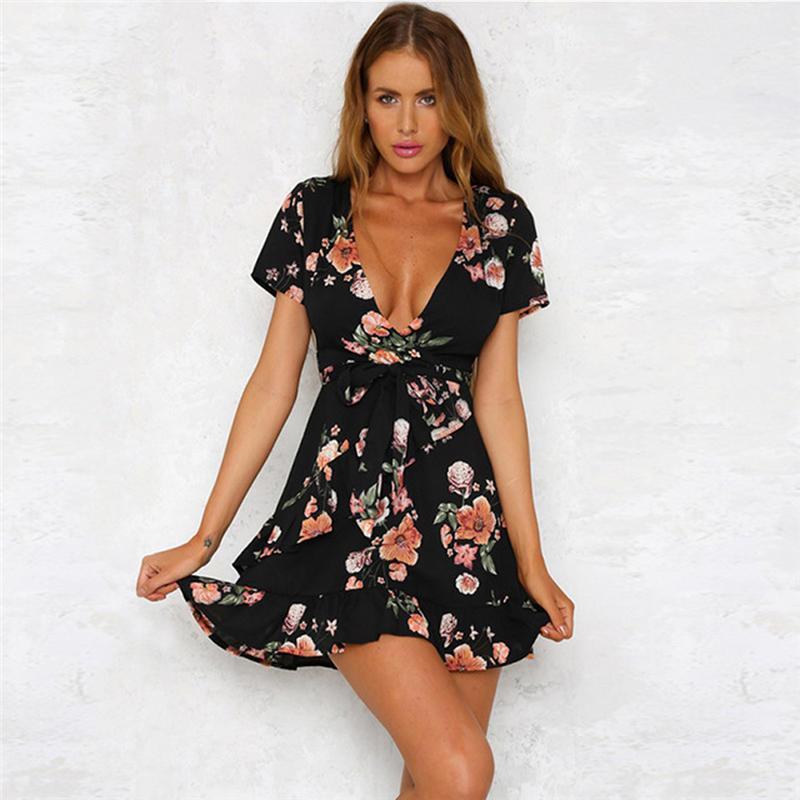 Frauen Boho Blumenstrandkleid Wrap Frill mini kurzes Sommerkleid Weinlese-Sommer V-Ausschnitt A Line Elegent Kleider