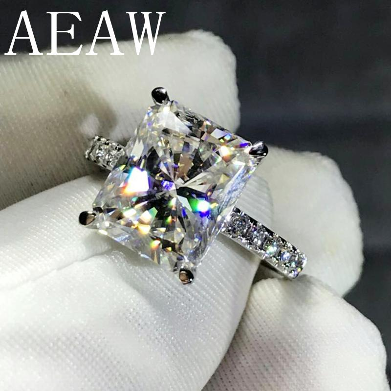 Обручальное кольцо AEAW 4CT Radiant Cut GH Муассанит в 925 Silver Алмазного Fine Jewelry Для женщин VS F Gems CJ191205