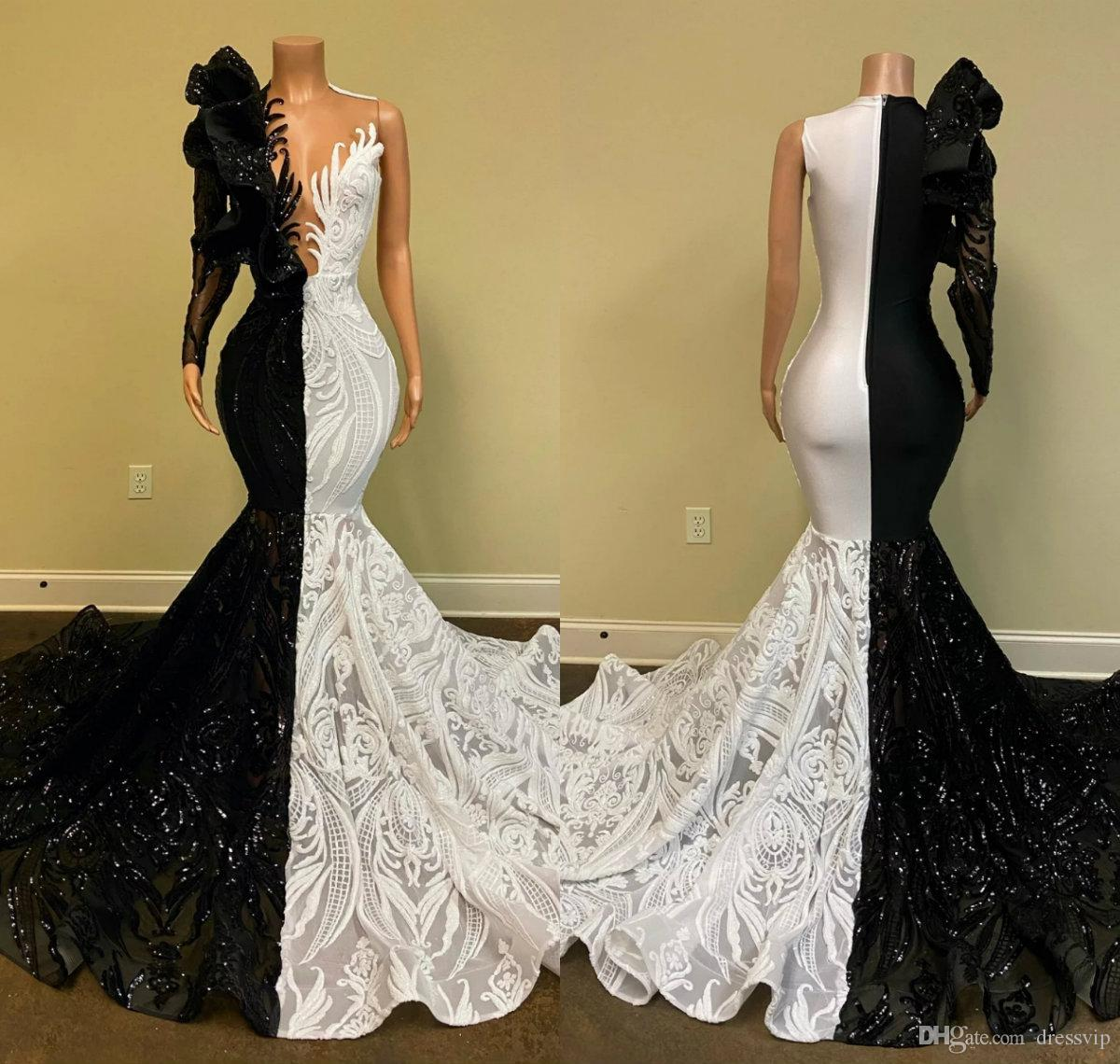 Designer Mermaid Prom Dresses Lace Appliqued Sequins Long Sleeve Evening Dress 2020 Black and White Illusion Party Gowns Vestidos De