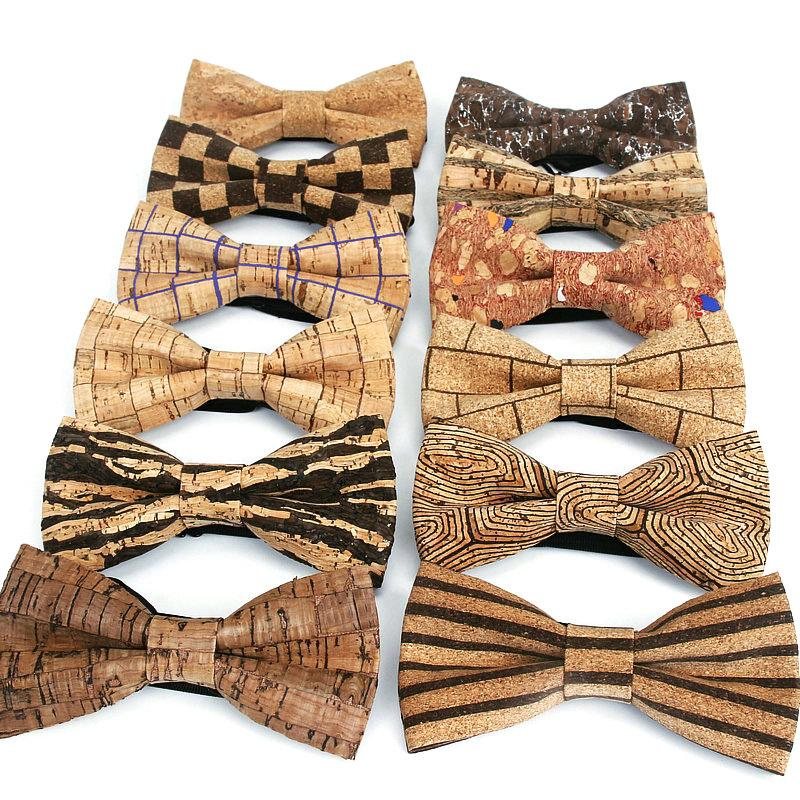 Yepyeni Mantar Odun Erkekler Bow Tie Ahşap Çizgili Bow Kravatlar El yapımı Ekose Papyon İçin Erkekler Düğün Aksesuar boyunbağı