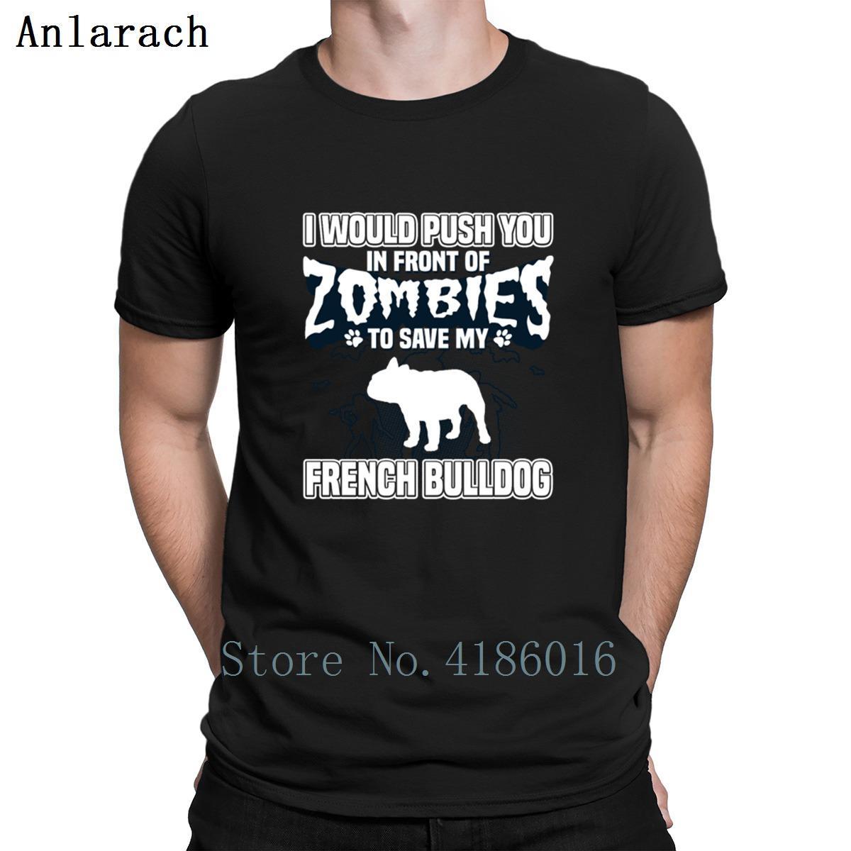 Traje camisetas Bulldog francés Zombies Ocio Humor Pop Top del camiseta de los hombres del estilo del verano Impreso gráfico algodón O-Cuello