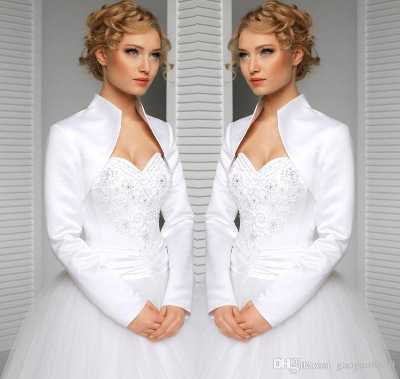 real custom made size and color wedding jacket satin long sleeves high collar bride accessories bridal bolero / shrug / wraps / shwal