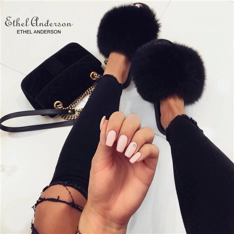 Ethel Anderson Moda Real Rakun Kürk Slaytlar Terlik Yaz çevirin Casual Vogue Fox Kürk Sandalet Vogue Peluş Ayakkabı Floplar