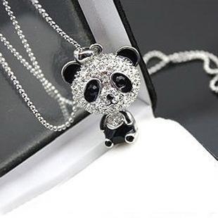 S872 joyería caliente de la manera collar de la panda de Rhinstone Panda linda del suéter Collares Collar