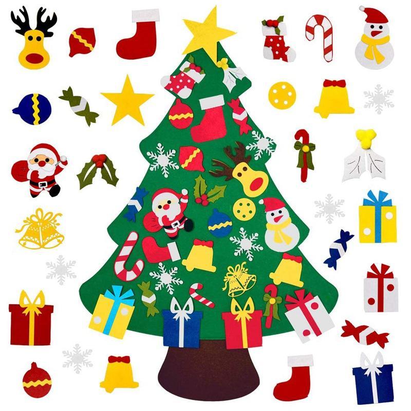 Felt fai da te Albero di Natale con 30Pcs ornamenti, regali di natale per i bambini Capodanno Natale Handmade per parete decorazioni d'attaccatura