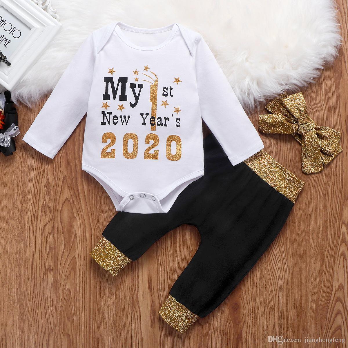 Bebek Kız Giyim Uzun Kollu Romper bodysuit Uzun Pantolon Kafa 3PCS Kıyafetler Bebek Boy Yılbaşı Bebek Eşofman 0-24M ayarlar