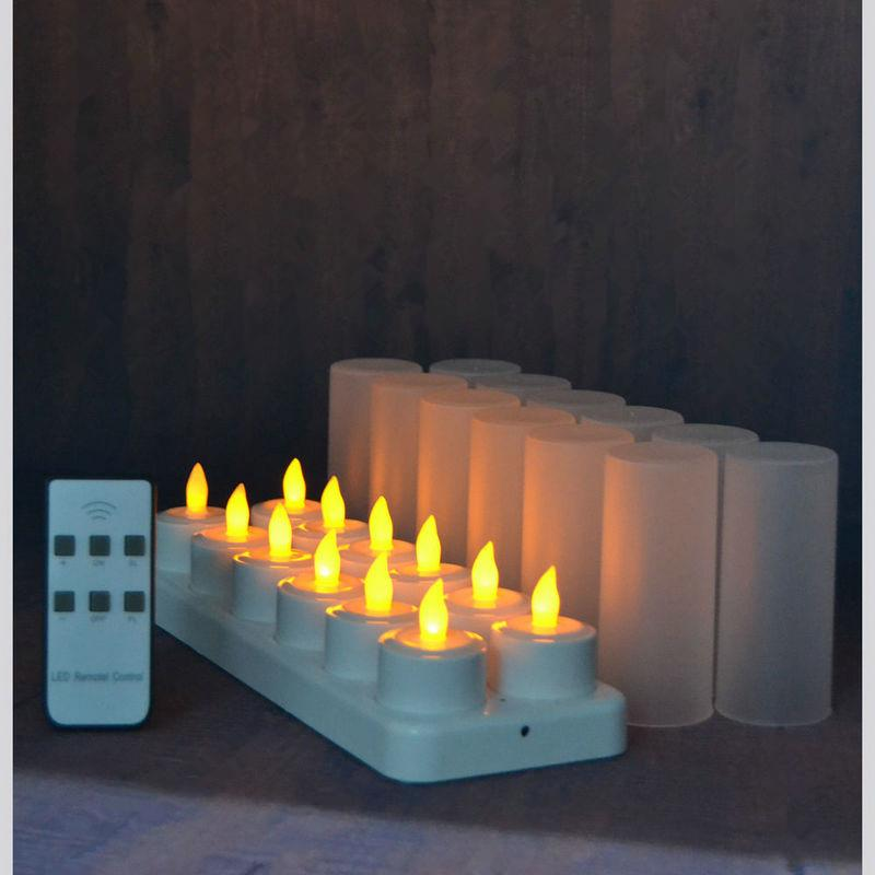 set of 12 remote controlled LED candles Flickering frosted Rechargeable Tea Lights/Electronics Candle lamp Christmas Wedding bar Y200109