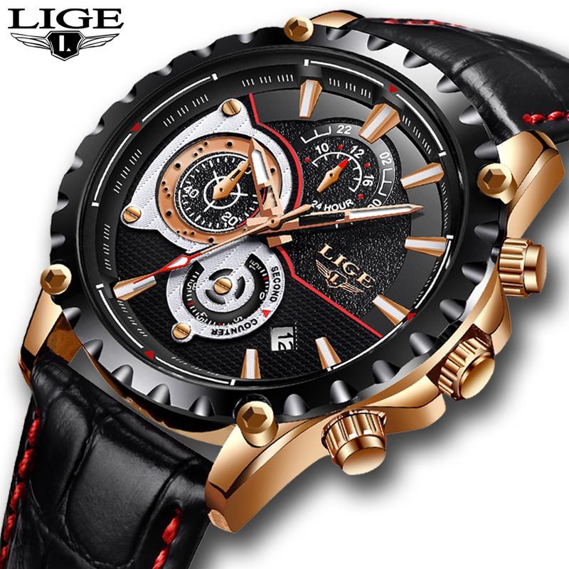 2019 Mens Watch LIGE Marchio di lusso in pelle Business Watch Date Cronografo Uomo Quarzo-orologio maschile Regali Orologio Relogio Masculino