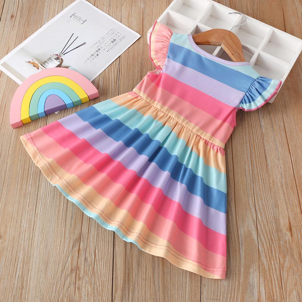 جديد الفتيات فساتين الاطفال rainbow الأميرة اللباس طفل الفتيات ملابس 2020 الصيف الأطفال ملون شريط falbala يطير كم اللباس