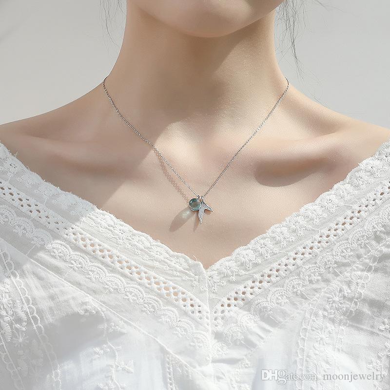 новый 925 стерлингового серебра русалка пены ожерелье Корейский кристалл моды темперамент дикий мило ожерелье Фиштейл