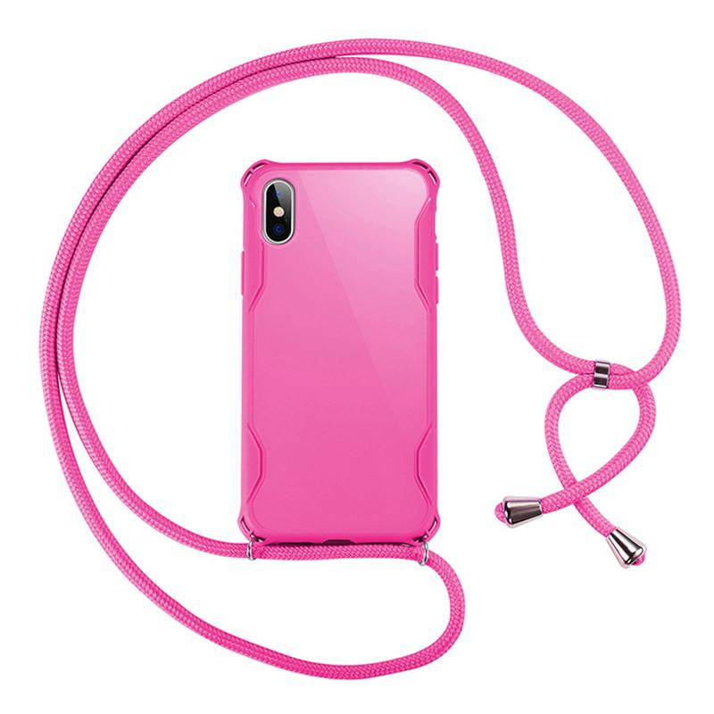 Slim shape tpu phone case for Iphone 11 pro x xr xs max 8 7 6 plus case air cushion shockproof cover with colorful ropes string