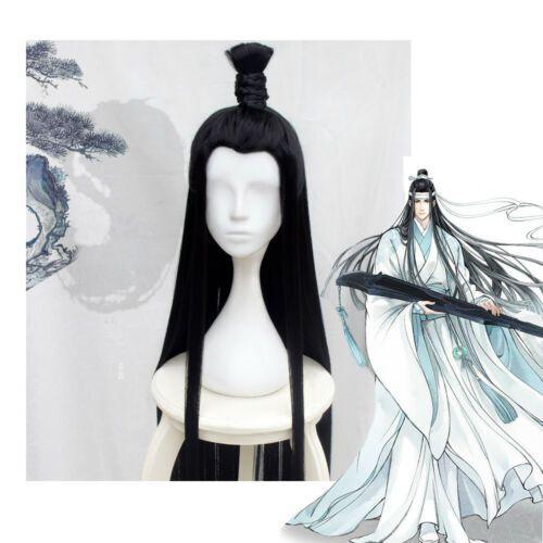 Modao Zushi Grand maître de la culture démoniaque Lan Wangji longue perruque noire cosplay