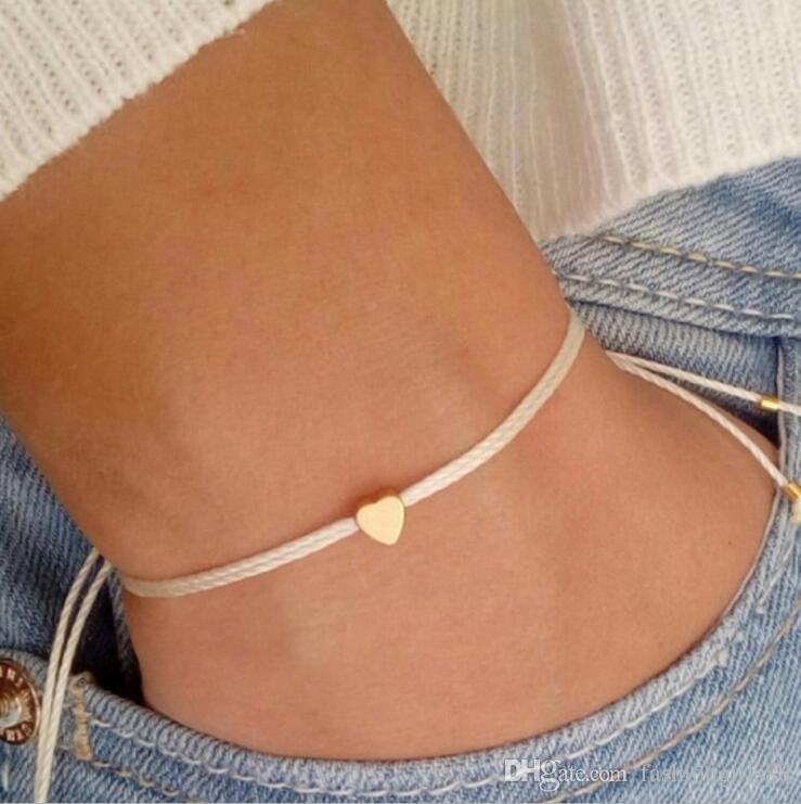 Sweet Simple Rope Loved Heart Pendant Bracelet Golden Adjustable String Solid Hasp Beaded Peach Hearts Band Hand Chain Unisex Jewelry Gifts