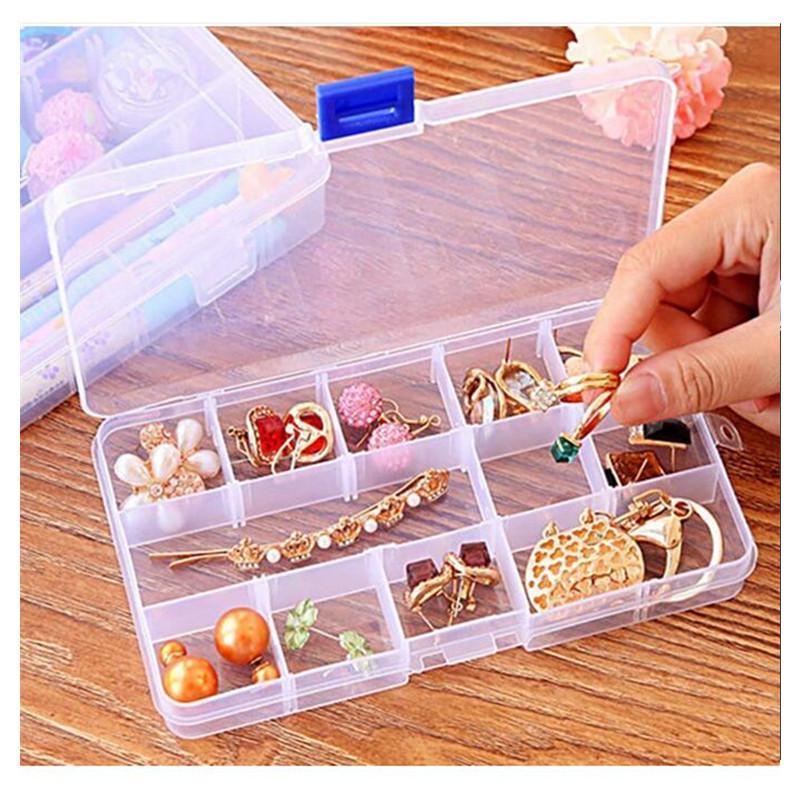 Plástico 15 grades compartimento ajustável caixa de jóias colar brinco transparente caixa caixa de armazenamento caixa organizador caixas