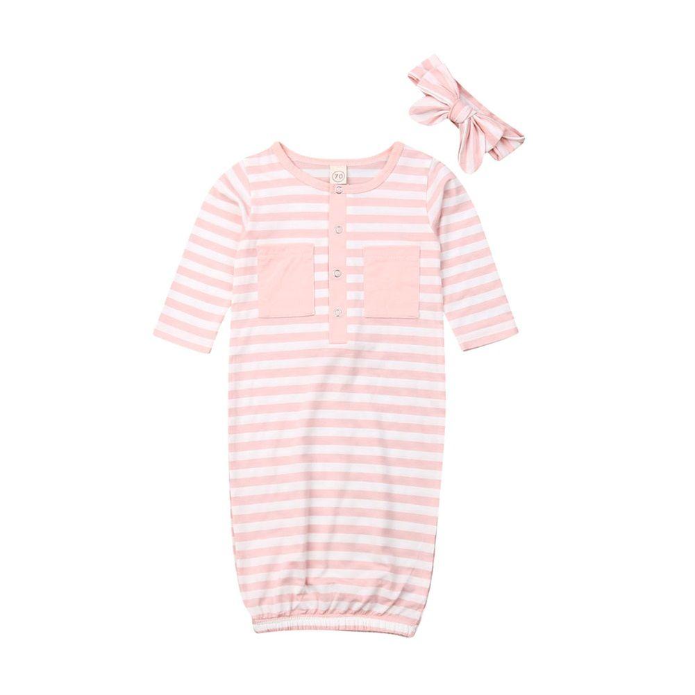 Newborn Baby Girl Striped Swaddle Wrap Blanket Cotton Sleeping Bag+Headband Set