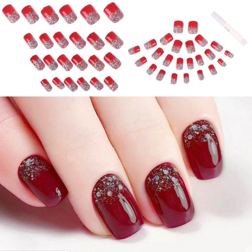 Hot Sale 24Pcs/Set Red Female False Nail Tips Sequins Glitter Fake Nails Bright Short Square Artificial False Tips with Glue
