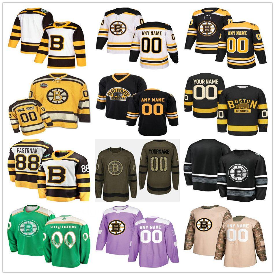 Özel Boston # 33 Zdeno Chara 8 Kam Neely 4 Bobby Orr 13 Charlie Coyle 14 Chris Wagner Erkek Kadın Çocuk Gençlik Hokeyi Formalar