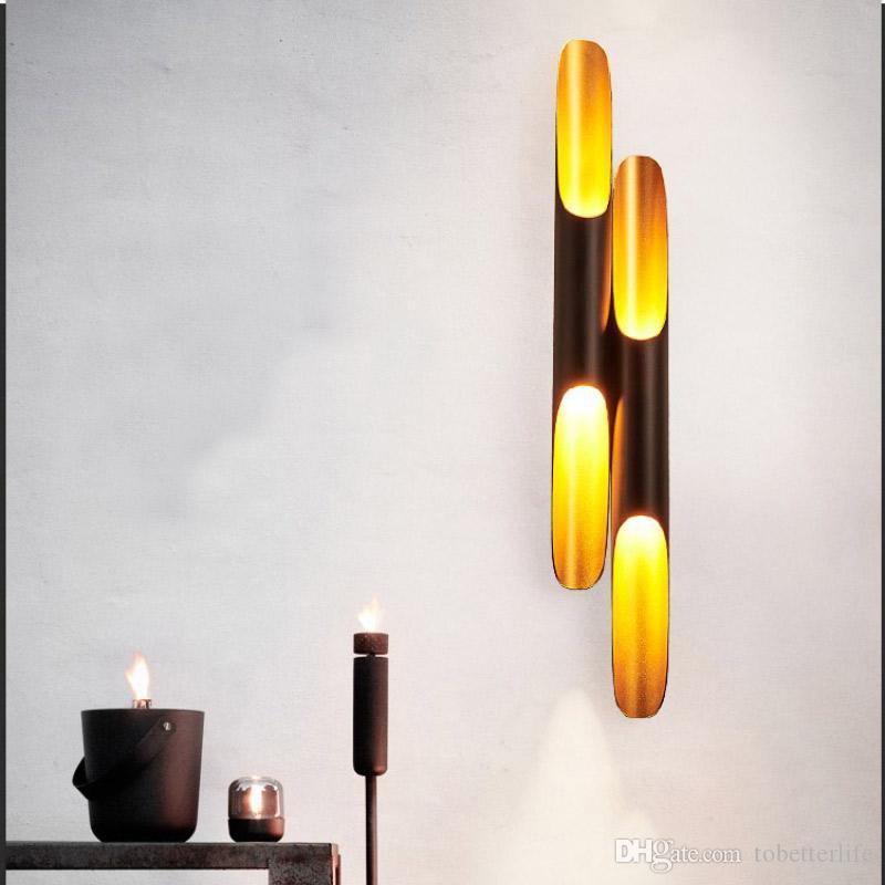Single Double Tube LED настенные светильники Бамбуковые Трубчатые Настенный светильник Современные Креативный Внутреннее освещение для Кафе Питание Номер Ресторан Decoration