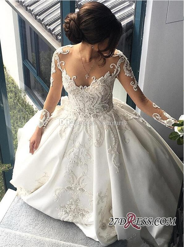Gorgeous Long Sleeve Lace Buttons Wedding Dress 2019 Long Sleeves Plus Size Arabic African Vestido De Novia Muslim Bridal Gown