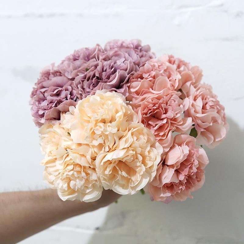웨딩 홈 장식 파티 저렴한 가짜 꽃 가짜 5 헤드 로즈 핑크 실크 모란 인공 꽃 수국 신부 부케