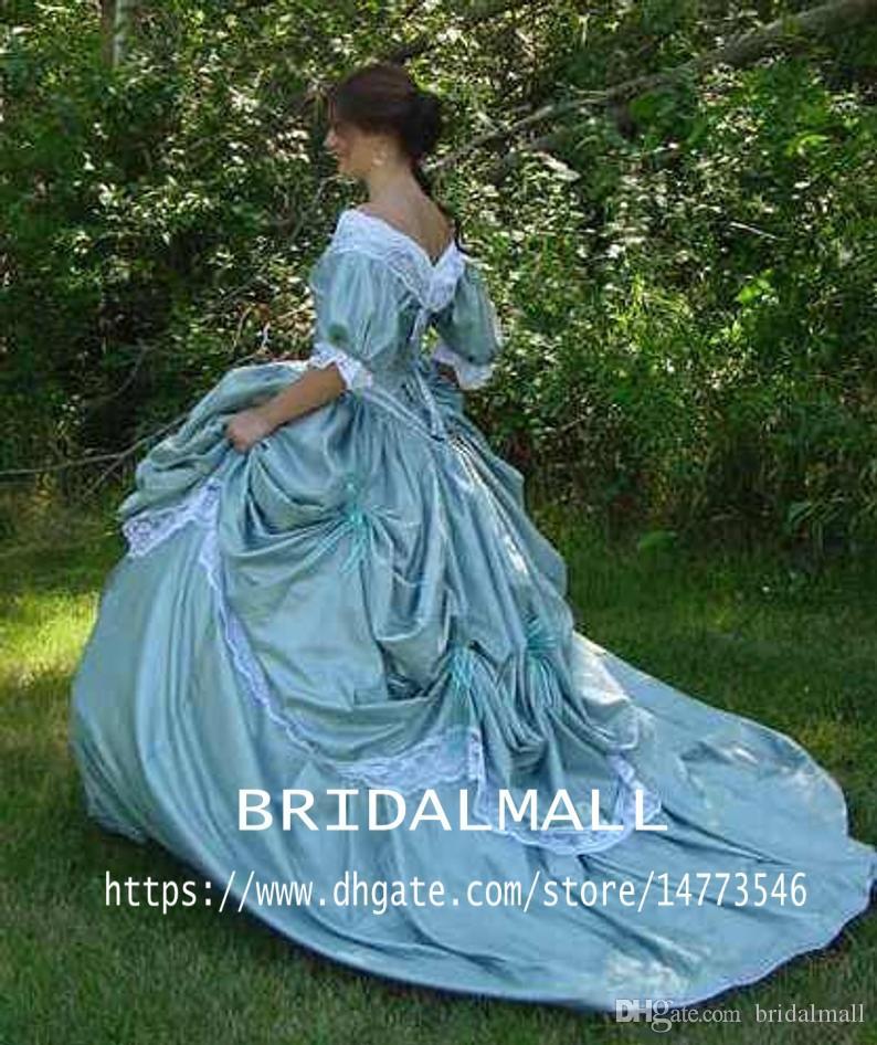Custom Made Southern Belle Victorian Bridal Civil War Steampunk A Line Ball Gown Skirt Taffeta and Lace Cheap Vintage Retro Wedding Dresses