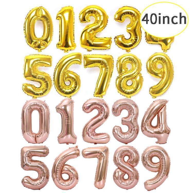 Оптовая 40-дюймовый один цифровой алюминиевый шар Фильм Золото Серебро розовое золото 90см Большой шар свободный DHL
